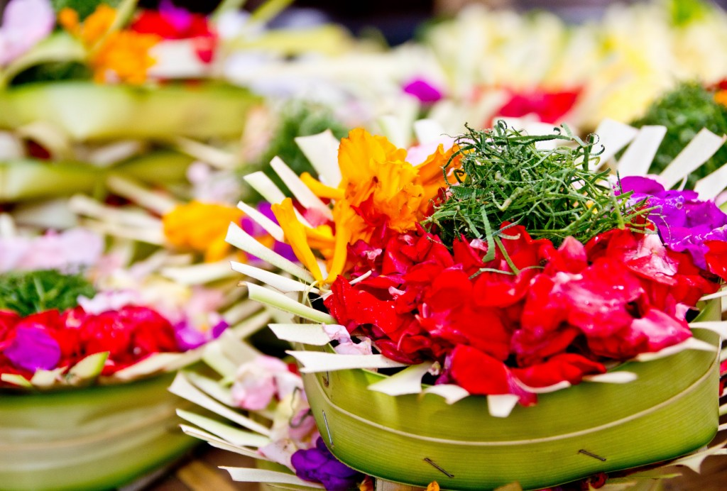 Beautiful offering dedicated at Temple festival ceremony in Bali island - Mari Bali Tours